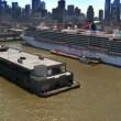 Aerial view of a Cruise Liner in the Hudson River, New York, USA - Stock Photo