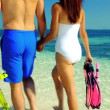 Caucasian Couple with Snorkeling Equipment — Stock Video