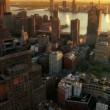 Aerial of New Jersey and Downtown Manhattan Skyline at Sunset, NY, USA - Foto Stock