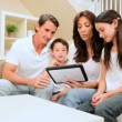 Caucasian Family Using Wireless Tablet at Home — Stock Video