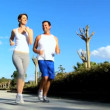 Young Couple Enjoying Jogging Exercise — Stock Video