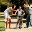 African-American Boy Learning to Ride a Bicycle — Stock Video