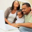 African-American Family Using Internet Webchat — Stock Video