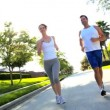 Attractive Couple Jogging to Keep Fit — Stock Video