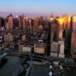 Aerial of the sun reflecting in the buildings of the Financial District, NY, USA — Stock Video