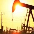 Oil donkeys or pump jacks in perpetual motion at sunset — Wideo stockowe