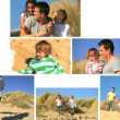 Montage of Families Lifestyle Together by the Coast — Stock Video #23179960