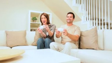 Young Couple Playing Electronic Games — Stock Video