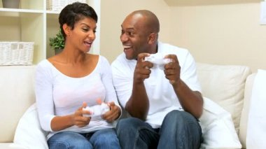 Ethnic Couple Playing with Games Console — Stock Video