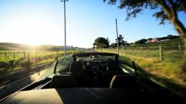 Driving the Countryside of Napa Valley at Sundown — Stok video