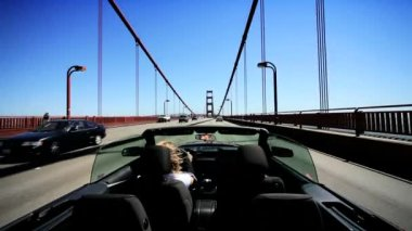 Luxury Convertible Car on the Golden Gate Bridge — Stock Video