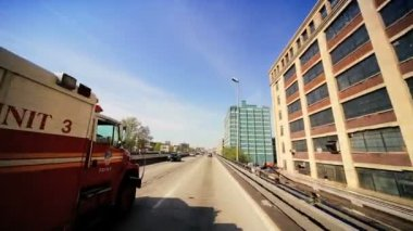 P.O.V Driving on Elevated Freeway, New York — Stock Video