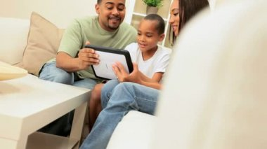 Ethnic Family Using Wireless Tablet — Stock Video