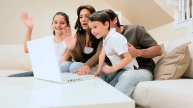 Family Using Modern Internet Webchat — Stock Video
