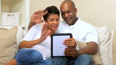 African-American Couple Using Online Webchat — Stock Video