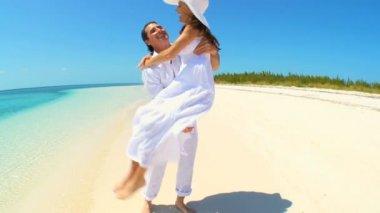 Caucasian Couple on Dream Vacation Island — Stock Video
