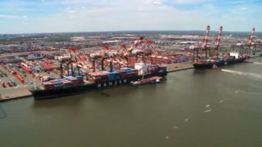 Aerial view of Container Port and Harbor, New York State, North America, USA — Stock Video