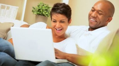 African-American Couple Using Laptop for Webchat — Stock Video