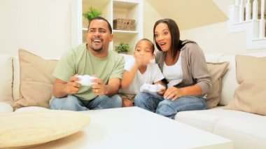 African-American Family Playing on Games Console — Stock Video