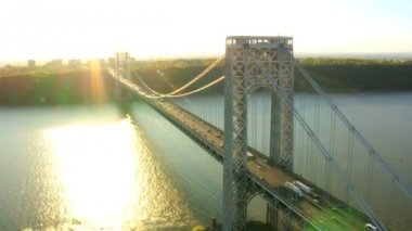 Aerial view of the George Washington Suspension Bridge at Sunset NY, USA — Stock Video