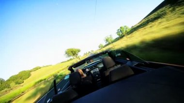 Luxury Convertible Driving in Napa Valley — Stock Video