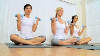 Trio of Females at Fitness Studio — Stock Video