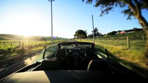 Conduire la campagne de napa valley, au coucher du soleil — Vidéo