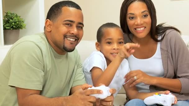 Ethnic Family Playing on Games Console — Vidéo