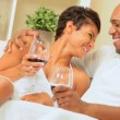 Loving Couple at Home Drinking Wine — Stock Video