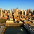 Stock Video: Aerial view of Midtown Manhattand Piers, New York City, USA
