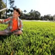 Little Boy Playing with Homemade Airplane - Stockfoto