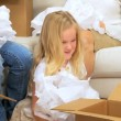Family Females with Tissue from Moving Cartons — Stock Video #23181464