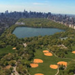 Aerial view of Central Park and Downtown Manhattan, New York, USA - Stock Photo