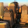Aerial view of the Financial District of Manhattan at Sunset, NY, USA — Stock Video