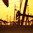 Oil donkeys or pump jacks in perpetual motion at sunset — Vídeo de stock