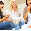 Stock Video: Girls Night with Popcorn & Movie