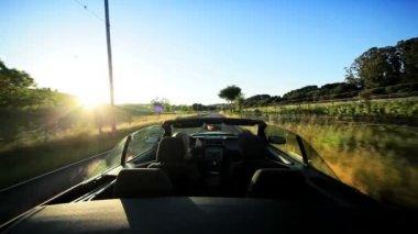 вождение в сельской местности долины напа на закате — Стоковое видео