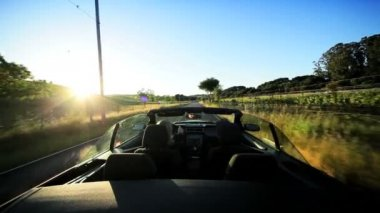 Driving the Countryside of Napa Valley at Sundown — Stockvideo