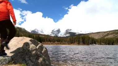 Lone Female Hiker Among the Beauty of a National Park — Stock Video