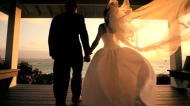 Attractive Couple Sunset Island Wedding — Stock Video