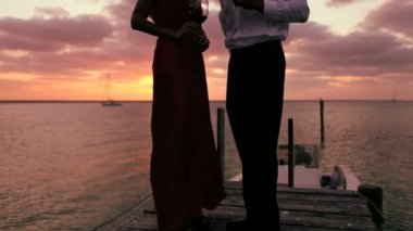 Portrait of Elegant Couple at Sunset — Stock Video