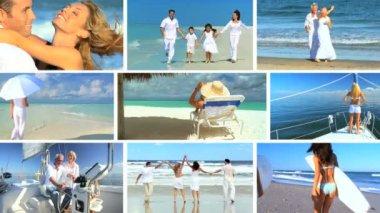 Montage of Enjoying the Beach & Ocean Lifestyle — Stock Video