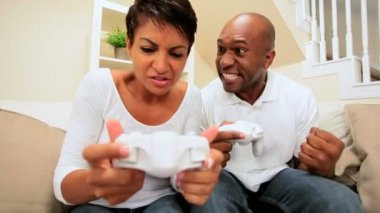 Ethnic Couple's Challenge on Game Console — Stock Video