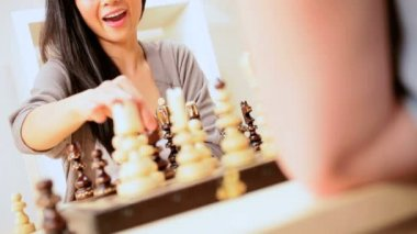 Pretty Asian Girl Playing Chess — Stock Video