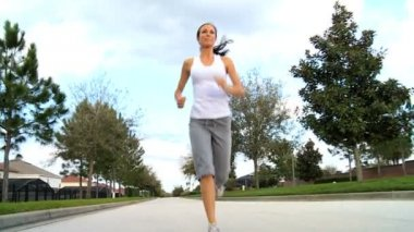 Pretty Girl Outdoors Jogging — Stock Video