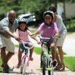 Little African American Girls Learning to Ride a Bike — Vídeo Stock