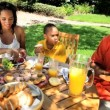 Young Ethnic Family Healthy Lunch — Stock Video