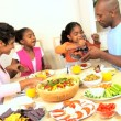 Ethnic Family Eating Healthy Food for Lunch — Stock Video