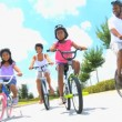 Healthy African American Family Cycling Together — Stock Video