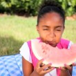 Cute African American Child Eating Water Melon — Stock Video